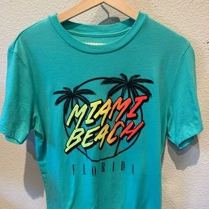Vibrant Teal/Neon Miami Beach Tee - Discounted!